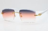 Venta al por mayor Gafas sin montura blanca Gafas de sol Aztec Brazos de mezcla de metal 3524012 Gafas de sol Unisex Gato Gafas de sol Gafas de sol Smalt Orange Lente C Decoración Marco de oro