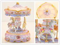NEW! carousel music box with Colorful lights Ornament 2018 3...