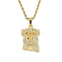 хип-хоп Иисус алмазы кулон ожерелья для мужчин сплава стразы христианство роскошные ожерелье из нержавеющей стали кубинский цепи религия ювелирные изделия