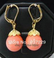 Liefhebbers vrouwen goede groothandel prijs gratis verzending ^^^^ prachtig roze koraal 18kgp oorbellen een paar