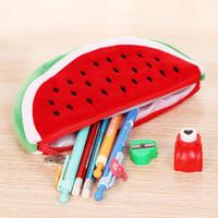 Süße Plüsch Wassermelone Bleistiftkoffer Frauen Kosmetische Geldbörse Brieftasche Halter Pouch Praktische Studenten Büro Bleistift Taschen Schulbedarf