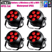 Hot sale 4pcs Free Shipping IP65 Remote Control Wifi 6*18W 6in1 LED Battery Wireless DMX Par Wash Light