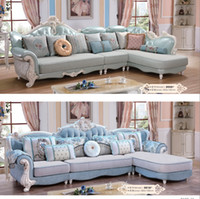 Wooden Sectionals Love-seats home Living Room Furniture Hand Carved Flower Floor Royal Luxury Fabric Sofa French Baroque Bright Color chair