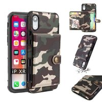 S10 plus camo case wallet flip cover mit kartenhalter für iphone 6 7 8 x xr xs max samsung s9 s8 note9