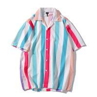 Turn-down Collar Calle ocasional de la camisa de la raya vertical de los hombres Camiseta de manga corta de Hip-hop Hawaiian Beach camisa masculina