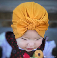 Newborn Baby Girls Rabbit Ears Bowknot hat Solid Cotton Slee...