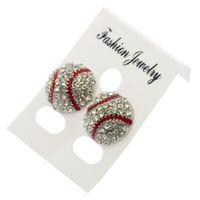 Мода забавный спортивный стиль бейсбол регби серьги с бриллиантами серьги-гвоздики болтаются с кристаллом