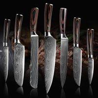 """Alta Quali coltello Chef, 8 """"cucina in acciaio Chef coltello imitazione di Damasco modello in acciaio affilato coltello per affettare regalo professionale giapponese"""