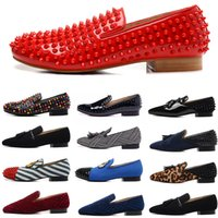 Designer Fashion Luxury Mens Dress Shoes Studded Spikes Red ...