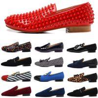 Designer de moda de luxo dos homens vestido sapatos cravejado picos fundos vermelhos para homens amantes do partido de couro genuíno camurça lona apartamentos mocassins