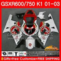 8Gifts 바디 스즈키 럭키 스트라이크 (Lucky Strike) GSXR 600 750 GSXR600 2001 2002 2003 4HC.21 GSX R750 GSXR600 GSXR750 K1 GSXR750 01 02 03 페어링 키트
