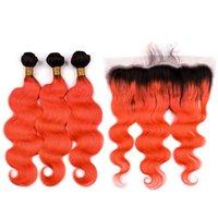 Silanda haar ombre color #t 1b / orange rot körperwelle remy menschliche haare webt 3 weben Bündel mit 13x4 spitze frontals versandkostenfrei