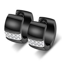Luxus-Kurz Gold überzogener Titanstahl Kreis-Ohrringe arbeiten Männer Frauen Glaring Zircon Ohrringe Schmuck High Grade Band Huggie Ohrringe