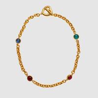 Amorita Boutique Heart Locker colore oro con gemma di vetro collana J190711