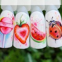 1pcs Strawberry Summer Fruit Drinking Stickers For Nails Manicure Nail Art Design Water Transfer Watermark Beauty Decals