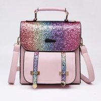 تصميم حقائب النساء الترتر مزدوجة حقائب الكتف زيبر طالب فتاة السيدات بريق الترتر حقيبة جلدية 4 أنماط