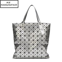 MANSURSPACE Handbag Female Folded Geometric Plaid Bag Fashion Casual Tote 9*9 PVC Women bao Bag  Shoulder