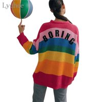 Lychee Spring Autumn Rainbow Stripes Women Sweater Boring Le...