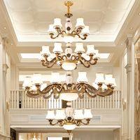 Avrupa tarzı lüks villa otel için büyük çinko alaşım avizeler ışık lobi merdiven led kolye lambaları altın uzun kolye avize aydınlatma