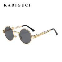 Kadiguci القوطية steampunk نظارات الرجال النساء المعادن wrapeyeglasses جولة ظلال العلامة التجارية مصمم النظارات مرآة عالية الجودة uv400 k350