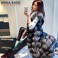 2018 Imitación de las mujeres chaleco de piel Alargar plata de las mujeres chaleco de piel de X-Long artificial chaqueta más el tamaño de la capa del invierno de las mujeres