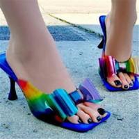 Hausschuhe S PVC Rainbow Farbe Transparente Gelee Butterfly-Knoten Frauen Mode Sommer Outdoor Elegante High Heel Kleid Schuhe