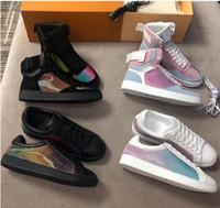 2019 أحدث وصول ريفولي حذاء رياضة التمهيد rainbow المدرب للرجال والنساء العجل عالية أعلى حذاء زهرة الزخارف خمر المدربين
