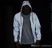 Para hombre de la calle principal reflectante rompevientos capas de las chaquetas de las mujeres de Hip Hop de la manera del deporte al aire libre activas Tops con capucha cazadora de largo envueltas