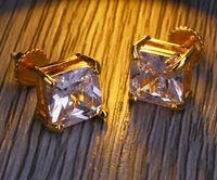 HipHop Moda Uomo di Hip Hop orecchini monili di alta qualità vite di nuovo Piazza Oro Argento simulato di diamanti per gli uomini