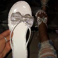 Litting Crystal Bowtie Женские тапочки Летняя женская обувь Корейский заостренный тапочки Baotou Плоский каблук