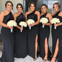2020 плюс размер черный один плечо подружка невесты Dodows Dodowess Vestidos de Damas de Hono Noath Prom платья переднего свадебного свадьбы Гостевое платье
