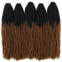 자매 자물쇠 가짜 locs 크로 셰 뜨개질 머리 확장 ombre 컬러 18 인치 TT 브라운 합성 머리 여성용 크로 셰 뜨개질 끈
