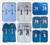 Männer NCAA-Ölerer 9 Steve McNair Blau Weiß Vintage Fußball 34 Earl Campbell 74 Bruce Matthews 1 Warren Moon genäht Retro-Trikots billig