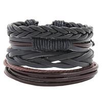 Pulseras trenzadas de brazaletes de cuero para hombre baratos para mujer Pulsera de envoltura de múltiples capas Moda Moda DIY Encanto Cadena Regalo de la joyería 4pcs / set / lot