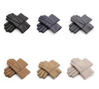 Moda-Klasik erkekler yeni 100% deri eldiven yüksek kaliteli yün eldiven çoklu renkler ücretsiz kargo