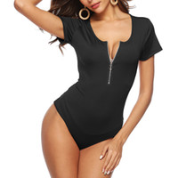 FOURONE Women Sexy Deep V Body Tute Pure Color Ladies Zipper Tuta con taglio alla coscia