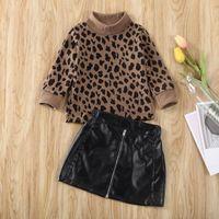 Pudcoco En Yeni Moda Bebek Kız Bebek Giyim Leopard Baskı Uzun Kollu Kazak Mini Deri Etek 2adet Kıyafetler Giyim Tops