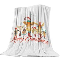 Manta personalizada Textiles para el hogar Navidad de la historieta Animales franela manta caliente suave ponderado banda Sofá cama Mantas de viaje