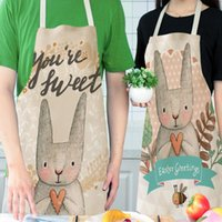 Nordic Style Apron Easter Flower Printing Brief Adult Apron ...