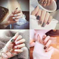 24Pcs fashion convenient fake nails square rivet retro simpl...