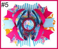 свободная перевозка груза 5pcs 5.5''Lilly Пулитцеровской вдохновил луки волосы Лили печати Boutique Style Hair Bow с Лилли Пулитцер вдохновил бутик фламинго
