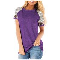 여자 짧은 표범 T 셔츠 여성 여름 의류 여성 레오파드 크루 넥 패널로 홈 티 FFA3755-C를 인쇄 스트라이프 T 셔츠 탑스