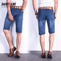 Мужские джинсы мужские растяжки тонкое качество джинсовая длина колена мужчина короткие мужчины голубые джинсы шорты брюки большого размера 35 40 42