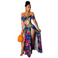 Women Off Shoulder Long Sleeve Tie Up Paisley Floral Print Maxi Dress High Split Party Club Sexy Long Plus Size Dresses