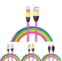 مضفر 1M 3FT دائم 2A قوس قزح النايلون سبيكة كابلات USB لسامسونج S8 S9 S10 ملاحظة 8 9 الروبوت الهاتف
