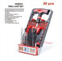 Wholesales !!! 무료 배송 TOOLMAN 50 개 컴팩트 핸드 툴 T- 핸들 드릴 + 비트 세트