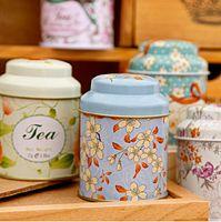 Fiesta de la boda caja de té de la flor de la vendimia del té estaño Tiesto caramelo Pot Tea Container Decoración
