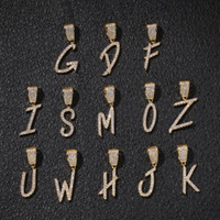 A- Z Brush Font Letters Necklace Pendant with Free 24inch Rop...