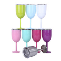 Bicchiere da vino rosso doppio in acciaio inox con coperchi Bicchiere da cocktail 10OZ Bicchiere da bar con 8 colori