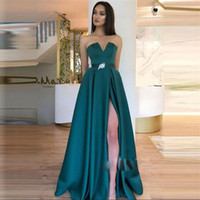 Hunter Prom Dresses With Sash Beads Strapless Front Split Cheap Party Dress Sleeveless Floor Length Simple Evening Gowns